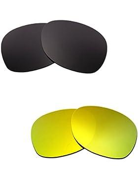 Hkuco Plus Mens Replacement Lenses For Ray-Ban Wayfarer RB2132 55mm Black/24K Gold Sunglasses
