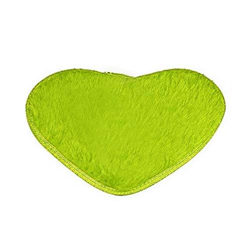-Herz-Form-Bodenmatte Rutschfeste Badematte für Badezimmer-Schlafzimmer - Gras-Grün ()