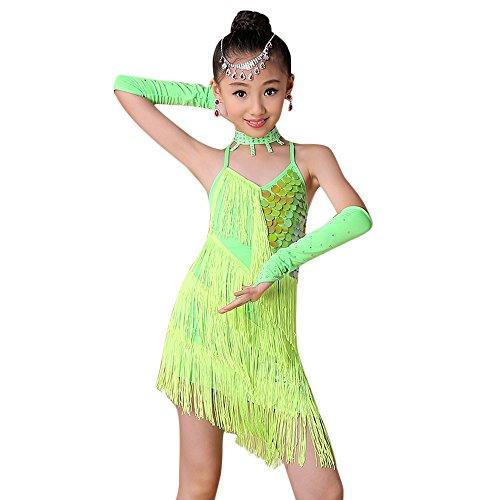 Lazzboy Kostüm Kleinkind Kinder Mädchen Latin Ballett Kleid Party Dancewear Gesellschaftstanz Kostüme Bauchtanz Outfit Indien Dance Kleidung Top + Rock(Grün,Höhe:120)