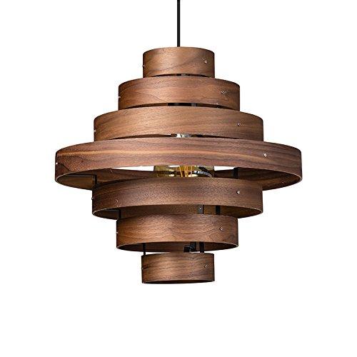 ETH Design Lampe suspendue design couleur bois - Helix Rond Compatible pour LED E27 Max. 1 x 60 Watt/Luminaire/Lumiere/Éclairage/intérieur/Chambre á coucher/Cuisine