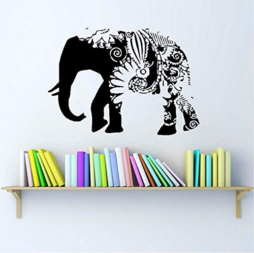 (Fushoulu Floral Elephant Religiöse Wandaufkleber Indian Ganesha Muster Schwarz Wandtattoo Removable Wandtattoo Home Kunst Dekoration)
