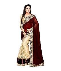 Sky Blue Fashion Desingner Sari ( Brown )