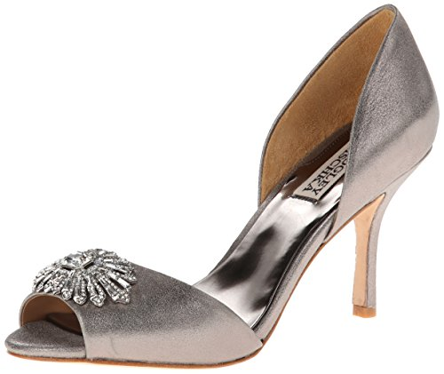 badgley-mischka-damen-pumps-grau-pewter-metallic-suede-grosse-40