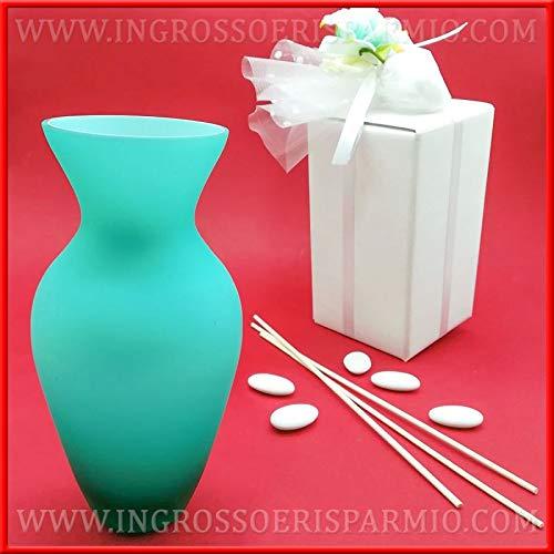Ingrosso e Risparmio Schön und sparen kleine Vase aus satiniertem Glas, Farbe Tiffany, Monofior, als Diffusor, Frau Kit 1 pz. - Tiffany-glas-vase