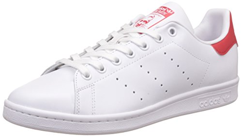 adidas Originals Stan Smith, Sneakers Unisex - Adulto, Bianco (Running White Ftw/Running White Ftw/Collegiate Red), 43 1/3 EU