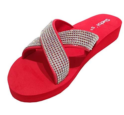 Siebi's Nizza Modische Strandschuhe Badeschuhe Pantoletten mit Plateau und extra leicht: Größe: 38 EU | Farbe: Rot