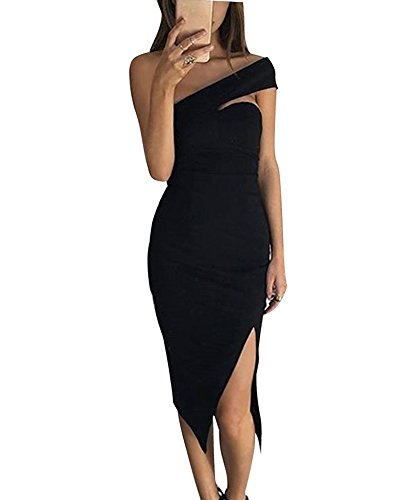 Minetom Donna Elegant Vestito Slim Senza Maniche Una Spalla Abiti Da Party Sera Cocktail Bodycon Lungo Abito Dress Nero