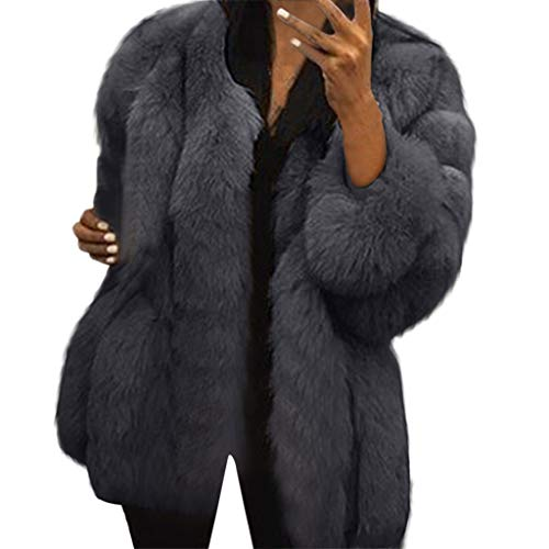 iHENGH Damen Herbst Winter Bequem Mantel Lässig Mode Jacke Frauen  Neue Damenmode Winter Warm Fuax Fur Long Sleeve Sexy Mantel Plus Outwear(Dunkelgrau, M)