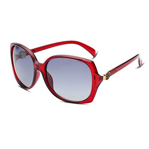 HMILYDYK Fashion Star gafas de sol retro de las mujeres marco UV400gafas de tonos Soporte para gafas, diseño de flor rosa Vintage con funda, Red Frame Grey Lens