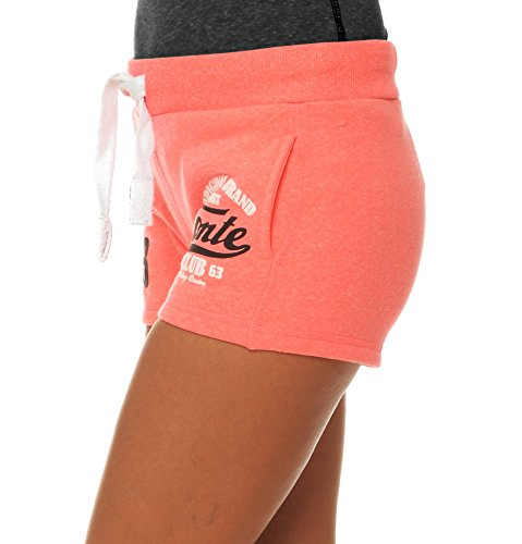 M.Conte Damen Jersey-Shorts Basic Skinni Fit Sport-Shorts / Training Retro-Shorts kurze Damen-Hose Pants Jogginghose Sporthose Blau Neon Pink Weiss Rot S M L XL Neon-Pink