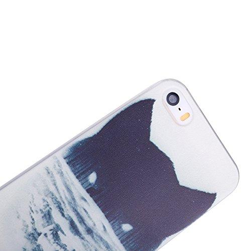 Coque pour iPhone SE 5 5S, Etui pour iPhone 5 5S SE, ISAKEN Peinture Style Transparente Ultra Mince Souple TPU Silicone Etui Housse de Protection Coque Étui Case Cover pour Apple iPhone 5 5S SE (Dream Forêt Loup