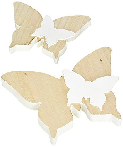 Heitmann Deco - 2 Schmetterlinge aus Holz - natur mit kleinen Schmetterlingen - Dekofiguren als Oster- und Frühlingsdeko