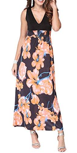 Smile YKK Femme Robe Longue Eupopéen Imprimée Floral Orange