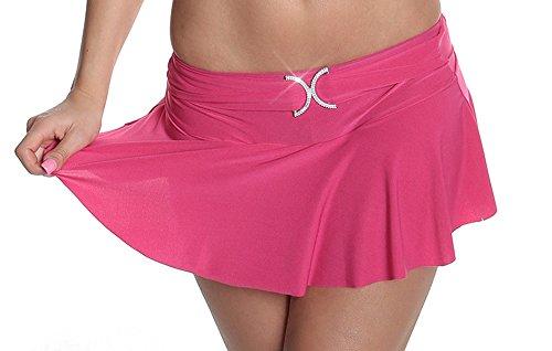 Falten-Minirock Rock Faltenrock mit eingearbeiteten Slip Einheitsgröße für 32,34,36,38 - Pink (Slip Rock Falten)