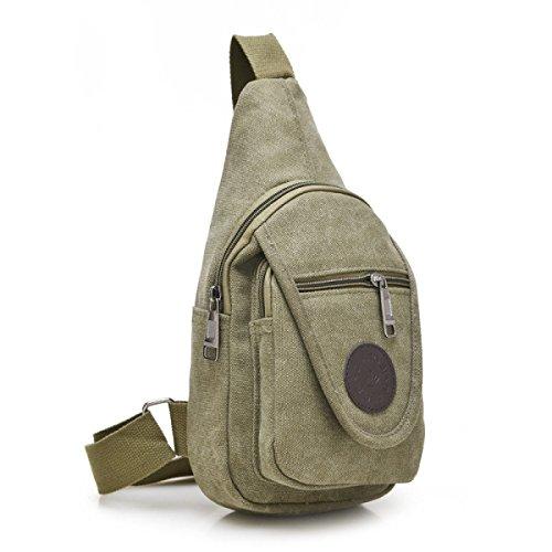 BULAGE Pack Brusttaschen Lässig Leinwand Reisen Multifunktional Männer Schulter Kleine Atmungsaktiv Personalisiert Einfach Zu Bedienen Bequem ArmyGreen