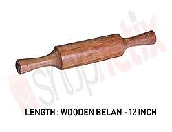 Wooden Rolling Pin, Wooden belan (Pack of 1) by Shopnetix