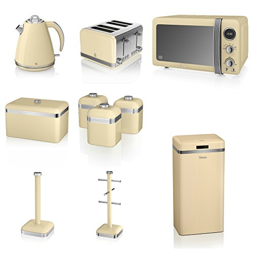 Swan Cream Kitchen Appliance Retro Set Of 10 - Retro Digital Microwave, 20 Litre, 800 Watt, 1.5 Litre Jug Kettle & Retro Stylish 4 Slice Toaster Retro Breadbin, 3 Canisters, Towel Pole, 6 Mug Tree And Sensor Rubbish Bin Set