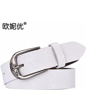 MS puro cuero cinturon de cuero correas Decorativas Retro Mujer Moda Casual Jeans cinturon ancho,Blanco,115cm