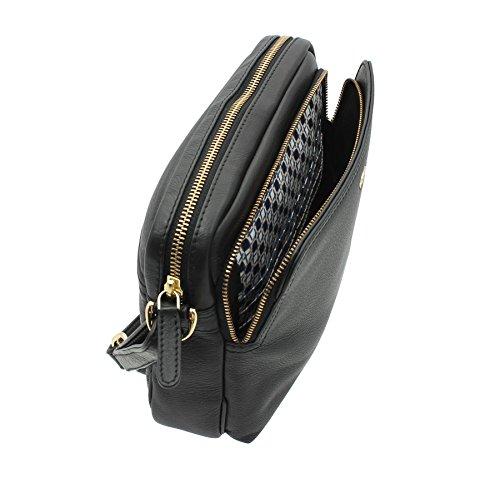 Tula NAPPA ORIGINAUX Zip Top Body cuir épaule / Croix Organisateur Sac 8376 Marine 2 Noir 2