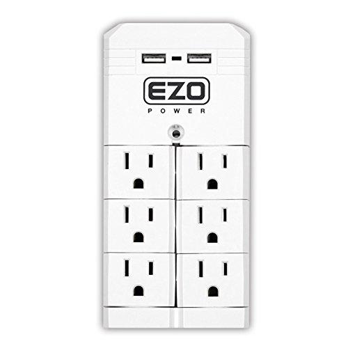 Joule-7-outlet Surge Protector (EZOPower [Ul-Zertifizierung Rotating Wandmontage Überspannungsschutz-Steckdosenleiste Mit 6 Pivot Outlet Plug + 2 USB-Ladegerät Stecker 6 Outlet Plug + 2 USB 6 Outlet Plug + 2 USB)