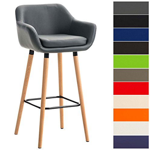 CLP Tabouret de Bar Grant Similicuir - Chaise Haute de Bar Confortable Design Scandinave - Tabouret de Bar Industriel avec Dossier et Accoudoir - Couleur: Gris