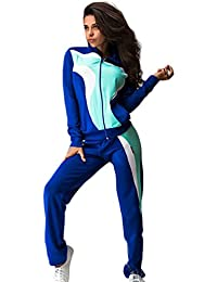 Baymate Mujer Empalme de Color Chándal Casual Sudadera con Cremallera + Pantalones Deportivos Conjuntos