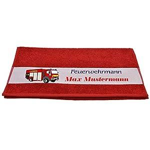 """Bedruckte Frottiere Handtücher oder Bade/Duschtücher – Motiv""""Feuerwehrmann"""" mit Ihrem Wunschnamen in 13 Farben zur Auswahl und 2 Größen"""