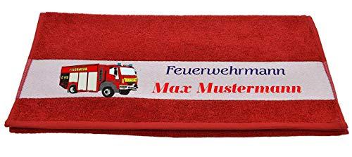 """Bedruckte Frottiere Handtücher oder Bade/Duschtücher - Motiv\""""Feuerwehrmann\"""" mit Ihrem Wunschnamen in 13 Farben zur Auswahl und 2 Größen"""