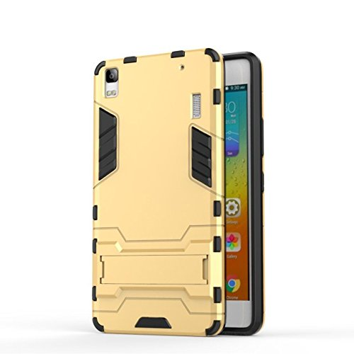 YHUISEN Lenovo A7000 Case, 2 In 1 Iron Armour Tough Style Hybrid Dual Layer Armor Defender PC + TPU Schutzhülle mit Stand Shockproof Case für Lenovo A7000 ( Color : Gray ) Gold