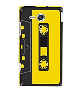 For Sony Xperia SP :: Sony Xperia SP HSPA C5302 :: Sony Xperia SP LTE C5303 :: Sony Xperia SP LTE C5306 radio cassette ( radio cassette, cassette, yellow background ) Printed Designer Back Case Cover By TAKKLOO