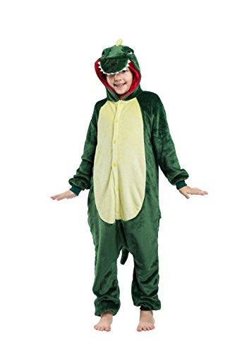 YUWELL Onesie Pyjama Kigurumi Enfant Animaux Cosplay Combinaison de Nuit Kigurumi Déguisement Costume Cadeau Noël Halloween Anniversaire Fête, Dragon Vert Hauteur 138cm -146cm (Etiquette Tailleur 140)