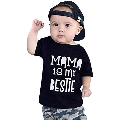 Fenverk 2Pc Neugeborenes Kinder Baby Jungs Outfits Kleider Brief T-Shirt Tops Tarnen Hose Kleinkind LangäRmlig Kapuzenpullover Sweatshirts + Hosen Outfit 0-1 Jahre(Black-06,3-6 Monate) 3-piece Kleid Outfit