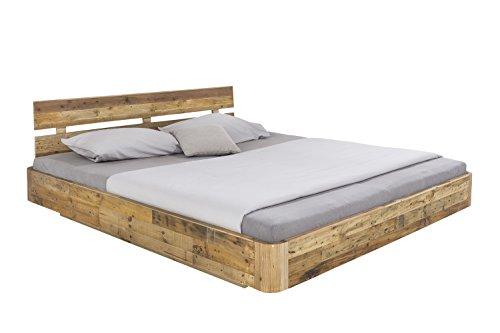 Woodkings® Bett 180x200 Hampden inkl. Matratze und Lattenrost, Doppelbett komplett, recycelte Pinie Schlafzimmer Massivholz Design Doppelbett Schwebebett massive Naturmöbel Echtholzmöbel günstig