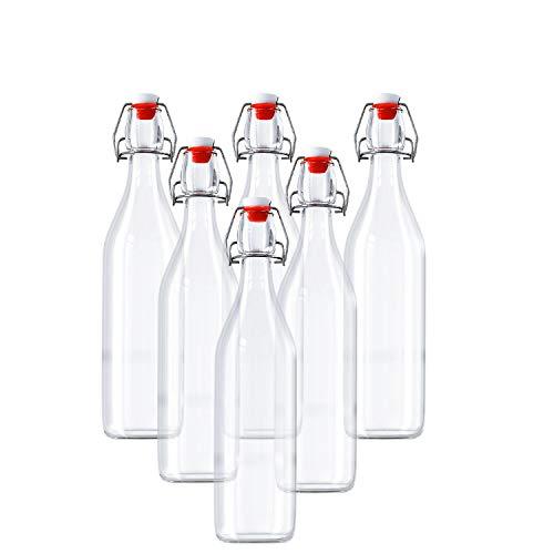 Botellas Vidrio Herméticas Con Tapón - 6 Pack 960ml