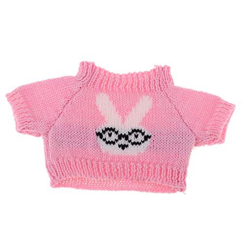 P Prettyia Gedruckte Puppen Pullover Winterkleidung Puppenkleidung Puppenkleider für 25 cm Puppen und ähnliche Puppen - Hase -