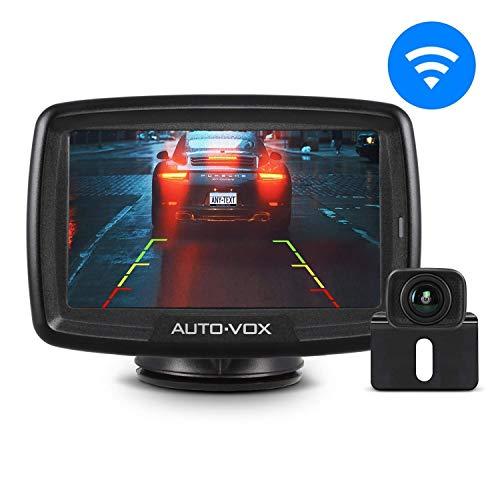 AUTO-VOX Caméra de Recul Sans Fil - Caméra de Recul avec Signal Numérique Stable, Caméra de Voiture Etanche IP68 avec 4.3'' LCD Moniteur et Super Vision Nocturne, DC 12V/24V CS-2