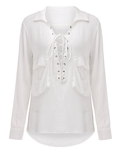 ZANZEA Femmes Sexy Col V Croixs Hauts Chemisier Manches Longues Casual Poches Casual Tops Chemise Blanc