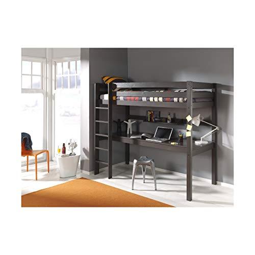 Vipack PINO LIT Mezzanine avec Grand Bureau Taupe Pin Massif/MDF, 209 x 105 x 180 Centimeters