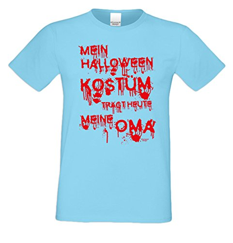 Fun-T-Shirts Herren Motiv Mein Halloween Kostüm trägt heute meine Oma Geschenk-idee Party-Outfit Kostüm Hexen Gespenster Geister Farbe: hellblau Gr: (Halloween Oma Kostüme Ideen)