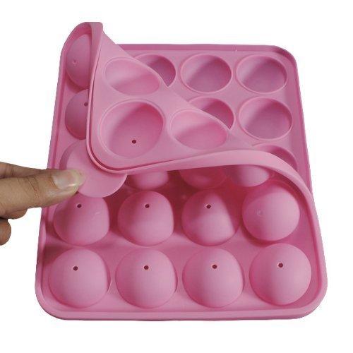 (Silikon Cake-Pop-Backform, eruner [Cake Pop Set Backen] 20runde Formen Silikon Lollipop Form Tablett Pop Cake Silikonform für Cupcake Stick Party Urlaub Backen (Pink))