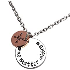Idea Regalo - LParkin Long Distance Gift Going Away Gifts Non Importa Dove Collana Bussola per collane BFF Amicizia e Lega, Colore: Necklace, cod. 43237-96195