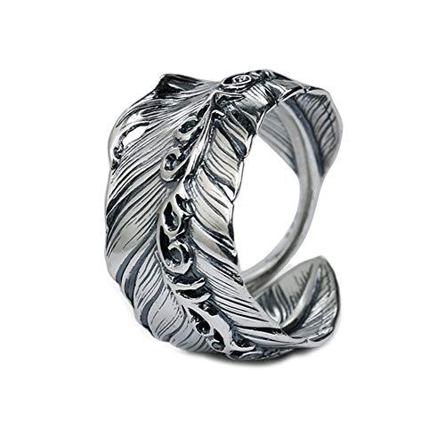 TIZIKJ Federöffnungsringe für Männer 925 Sterling Silber Biker Ring Vintage Indian Feather mit geschnitzten Blumenmuster Schmuck, Größe 11-21 (HK),Black Biker-bib