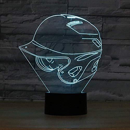BDQZ Baby Schlaf Beleuchtung Atmosphäre Dekor Zimmer 3D Baseball Cap Lampe 7 Farbwechsel Helm Hut Form Nachtlicht LED Schreibtischlampe Geschenke (Baseball Zimmer Dekor)
