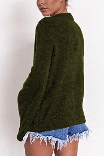 YACUN Le Donne Bell Manica A Massimo Maglione Occasionale Camicia Armygreen