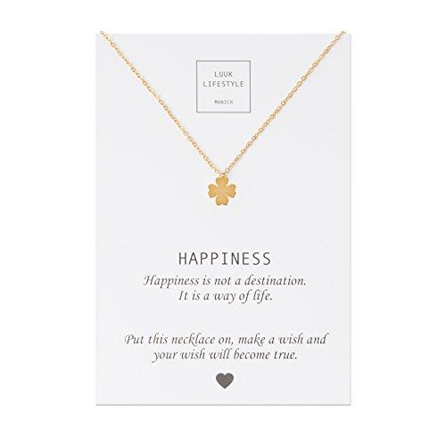 LUUK LIFESTYLE Edelstahl Halskette mit Kleeblatt Anhänger und Happiness Spruchkarte, Glücksbringer, Damen Schmuck, gold
