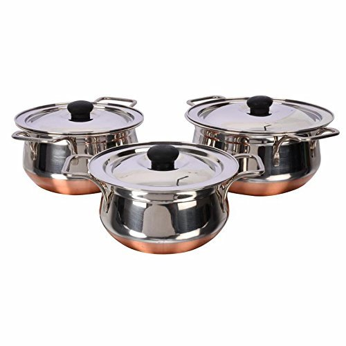 Stainless Steel Handi Cookware Set of 3 Pcs - Premium Stainless Steel 3 Pcs Handi Cookware Set - Copper Bottom