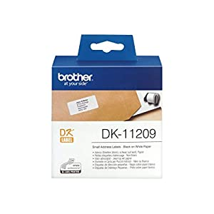 Brother DK-11209 Label Roll, Small Address Labels, Black on White, 29 mm (W) x 62 mm (L), 800 Label Roll, Brother Genuine Supplies