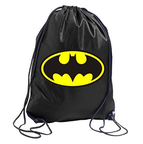 Youth designz Turn Bolsa con diseño-Modelo Batman-Bolsa de deporte mochila bolsa yute Bolsa Hipster Fashion, color negro, tamaño Talla única