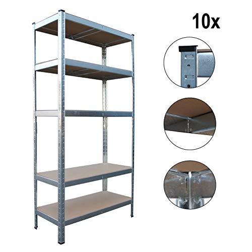 Top-Multi Schwerlastregal Lagerregal 180 x 90 x 40cm - M - 5 Böden - 10 Stück - 5 Schublade Boden Schrank