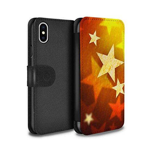 Stuff4 Coque/Etui/Housse Cuir PU Case/Cover pour Apple iPhone X/10 / Pack 9pcs Design / Décoration Noël Collection Étoiles